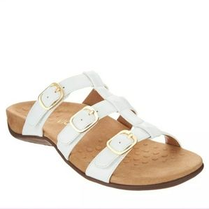 Vionic white strappy sandals with gold hardware